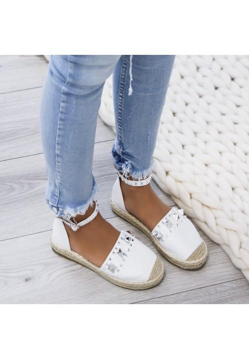 Sandały Espadryle Połyskujące Zamsz Białe Jimena