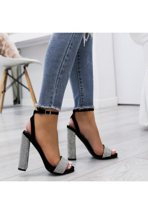Sandały na Słupku Zamsz Czarne Shanda Cristal