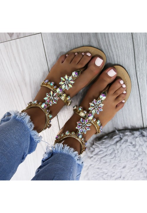 Sandałki Japonki z Kryształkami Złote Taida