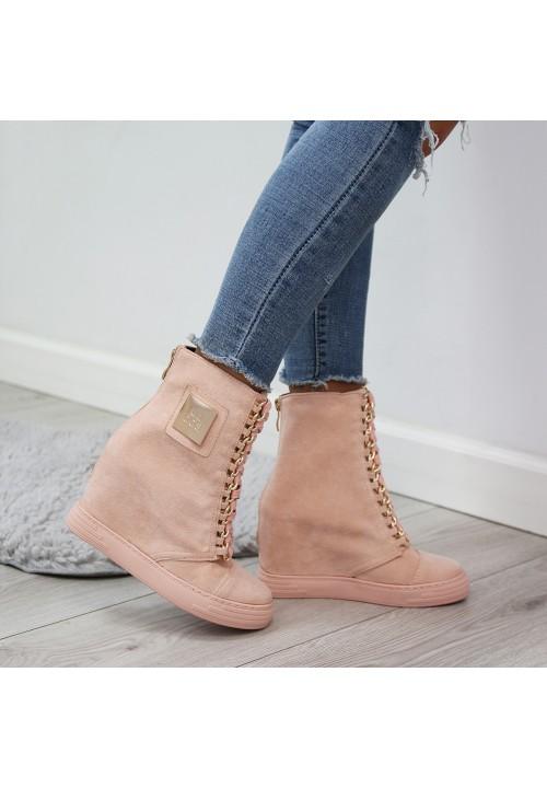 Trampki Zamszowe Jasny Róż Gold Sneakers Glam