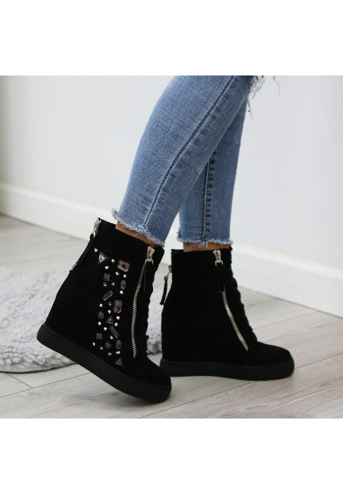 Trampki Koturny Zamsz Czarne Clare Sneakers