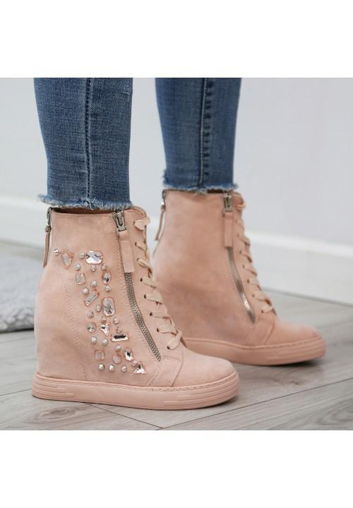 Trampki Koturny Zamsz Różowe Clare Sneakers