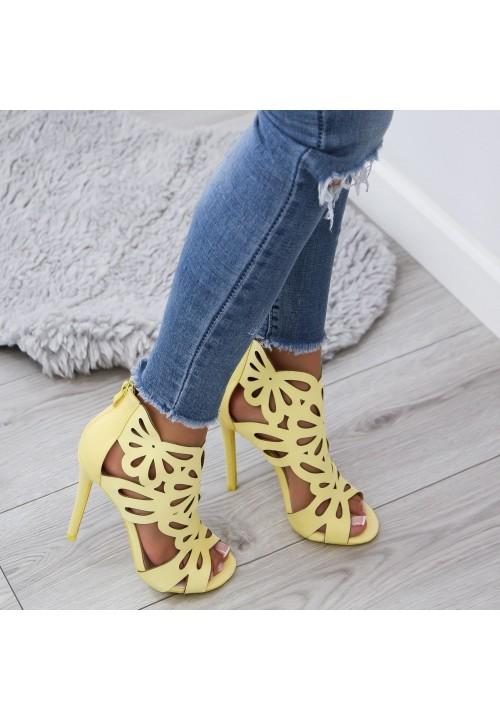 Sandałki Szpilki Satynowe Żółte Stella Satin