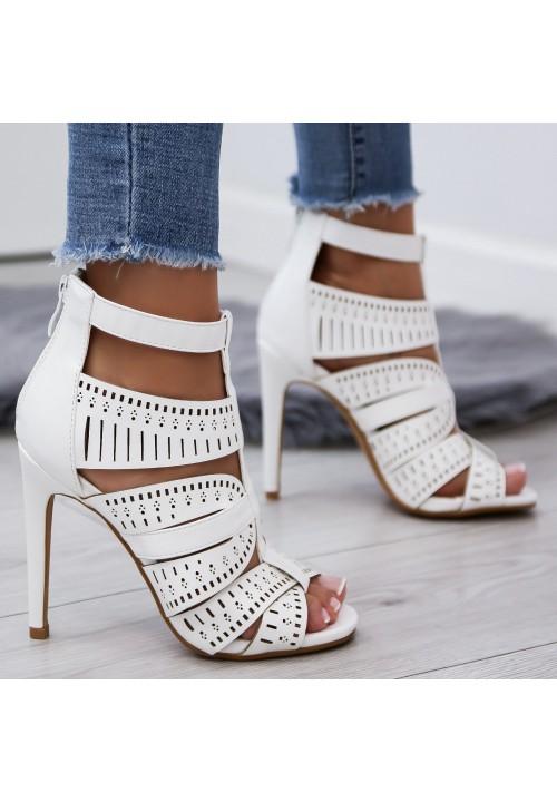 Sandały Szpilki Białe Malvine