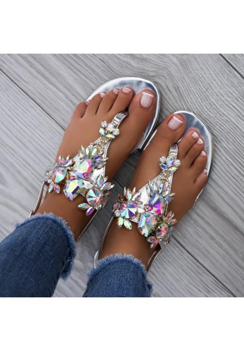 Sandałki Japonki Srebrne Crystal Stone