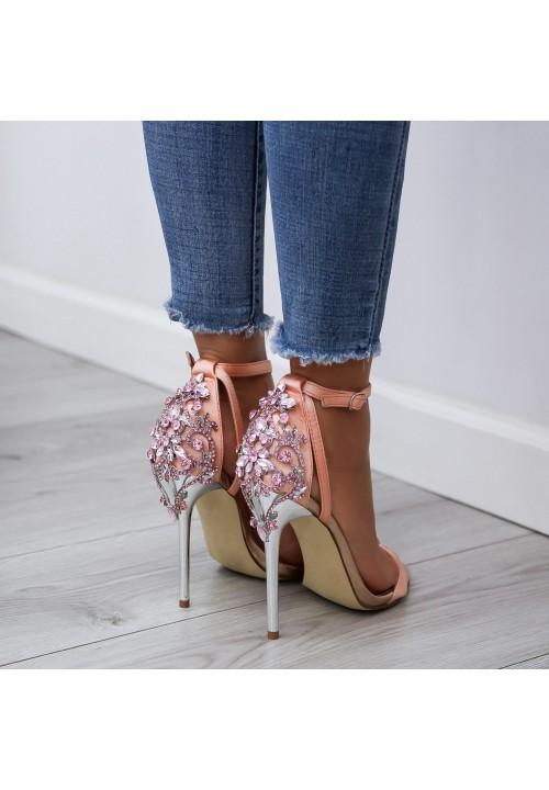 Sandałki Szpilki Satynowe Różowe Roy Satin