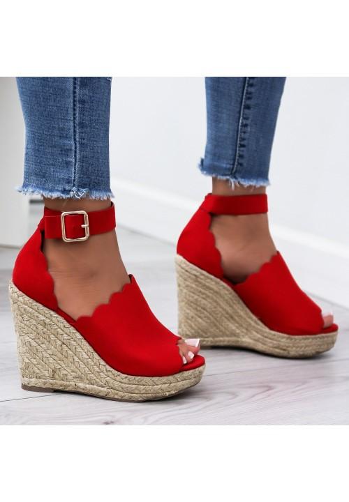 Sandały Espadryle Koturny Czerwone Luise Suede