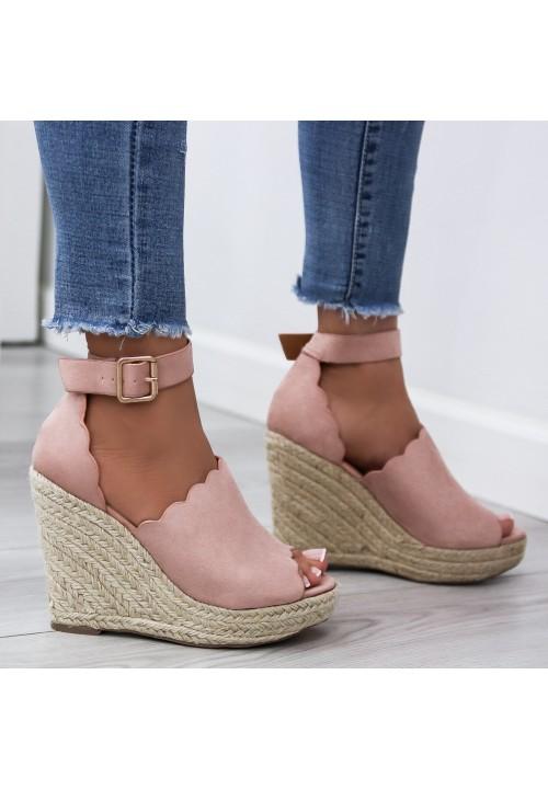 Sandały Espadryle Koturny Różowe Luise Suede