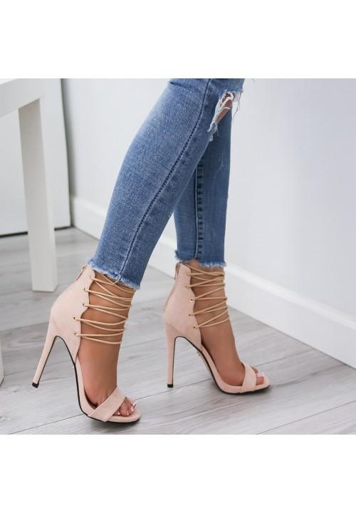 Sandałki Szpilki Zamszowe Beżowe Marianne