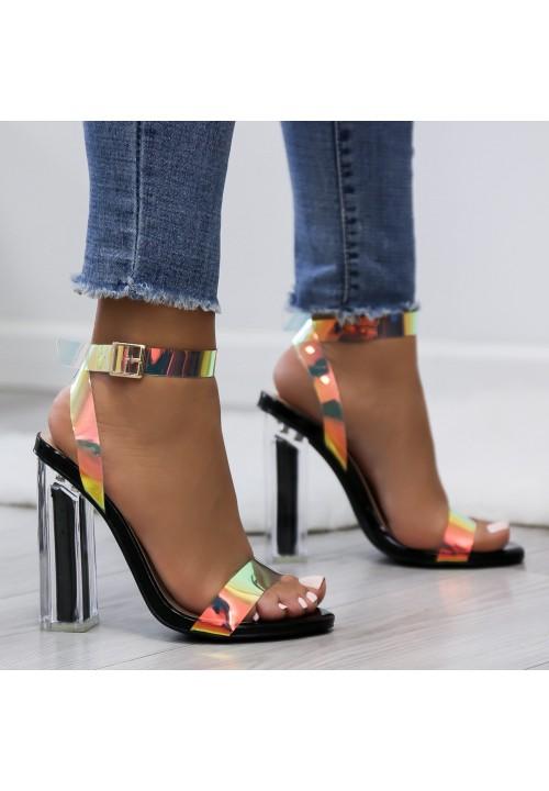 Sandały na Słupku Transparentne Czarne Ksenia