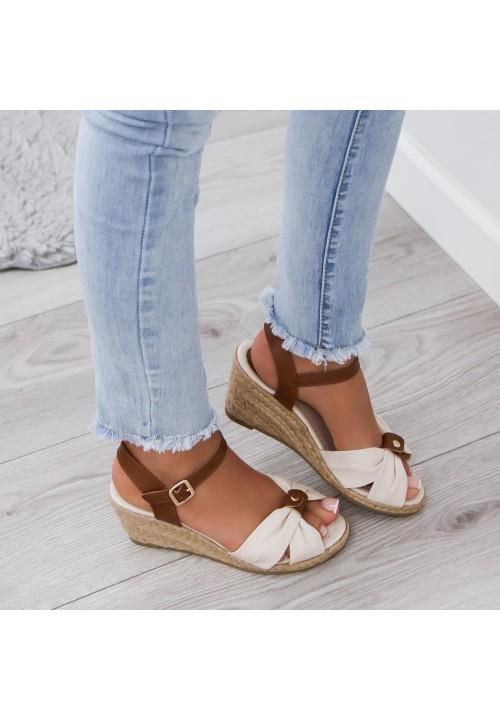 Sandały Espadryle  na Koturnie Beżowe Susanne