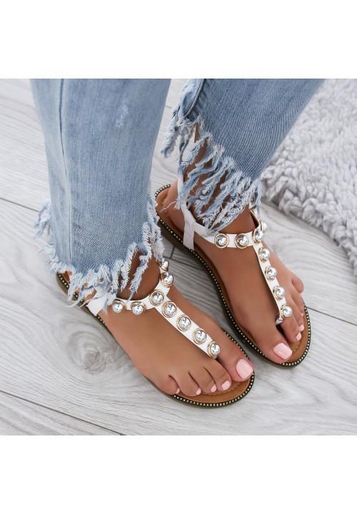 Sandałki Japonki Białe z Kulkami Saini