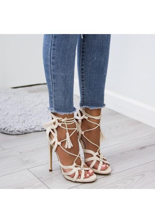 Sandałki Szpilki Beżowe Erika
