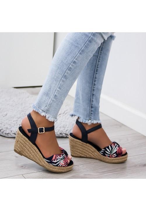 Sandały Espadryle na Koturnie Granatowe Tropical