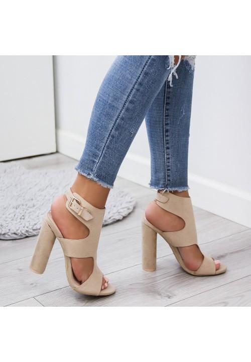 Sandałki na Słupku Zamszowe Beżowe Penelope