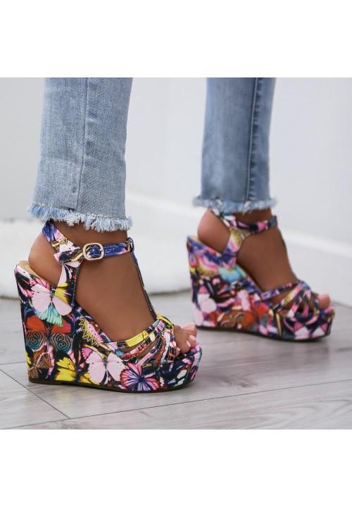 Sandały na Koturnie Multikolorowe Butterfly Effect