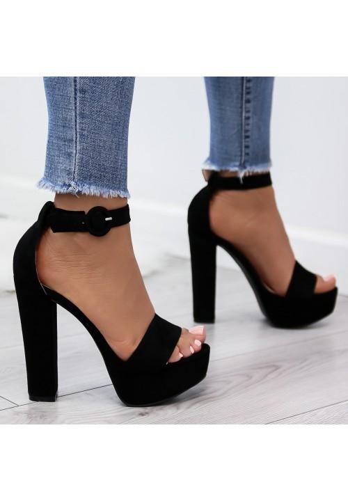 Sandałki Platformy Zamszowe Czarne Hortense