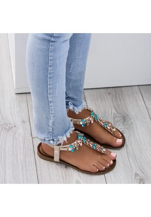 Sandałki Japonki Zamszowe Złote Crystal Egypt