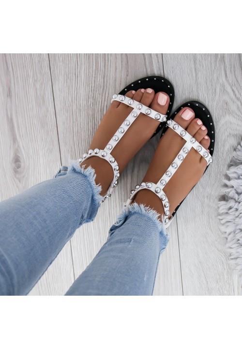 Sandałki Białe z kulkami Sam