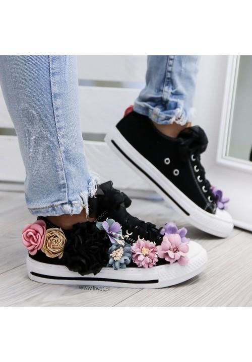 Trampki Klasyczne Czarne Flower Rose