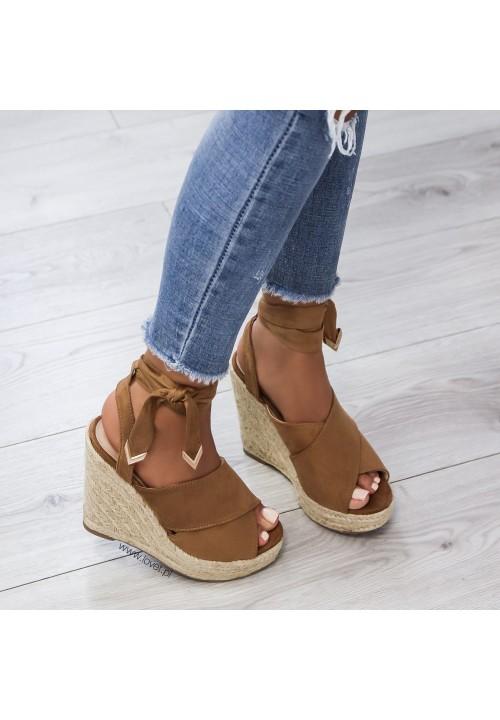 Sandały Espadryle Koturny Camel Eira