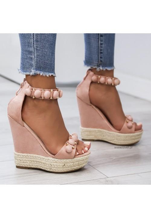 Sandałki Espadryle Koturny Różowe Zamszowe Marie