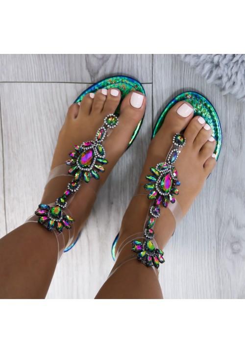 Sandałki Japonki Transparentne Zielono Niebieskie Lara