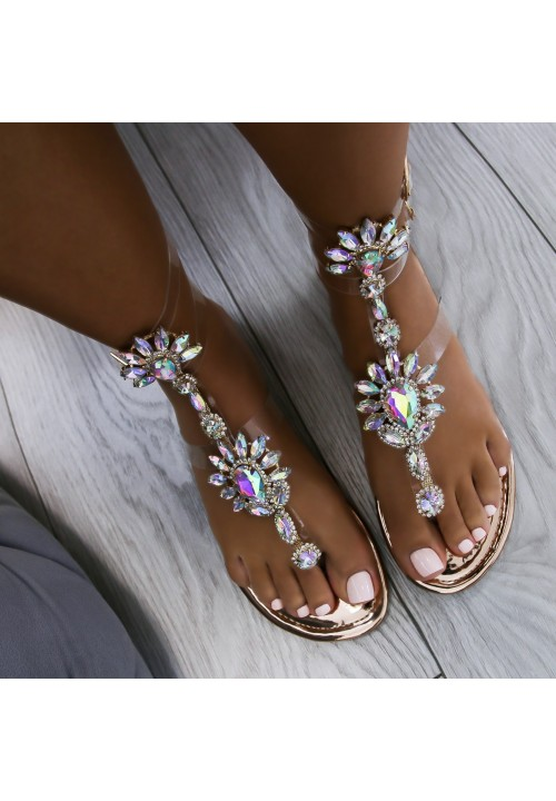 Sandałki Japonki Transparentne Różowe Złoto Lara