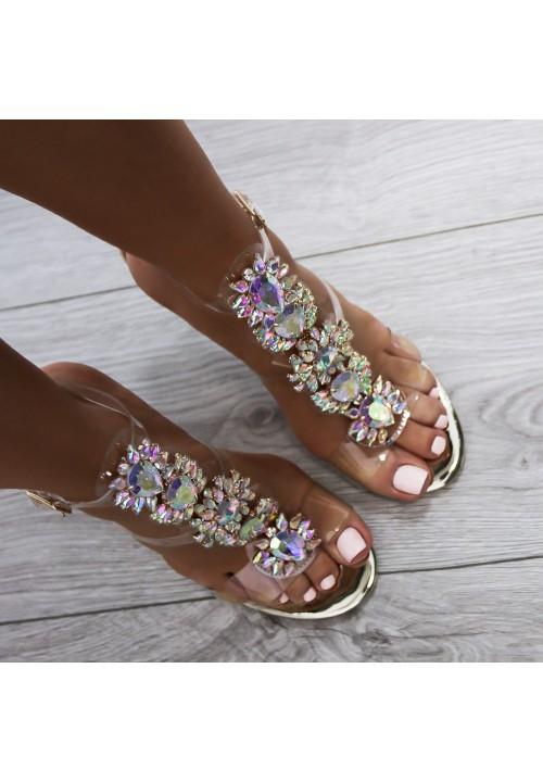 Sandałki Szpilki Transparentne Złote Calixte