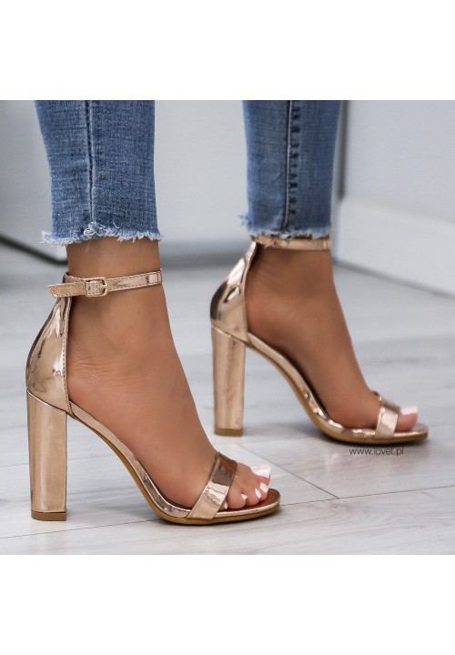 Sandałki Różowe Złoto Lustrzane Kirsti