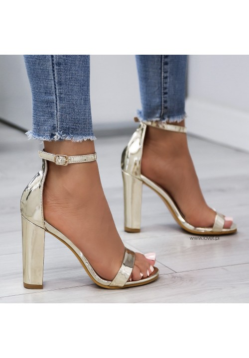Sandałki Złote Lustrzane Kirsti
