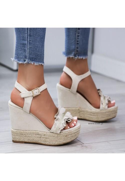 Sandałki Espadryle Koturny Beżowe Shanley