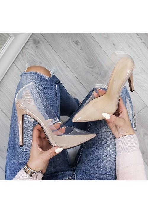Szpilki Klasyczne Transparentne Beżowe Cinderella