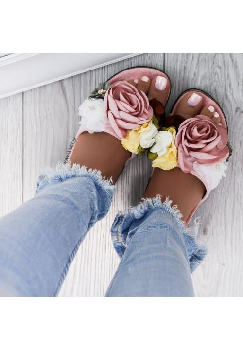 Klapki Gumowe Zamszowe Różowe z kwiatami Davi