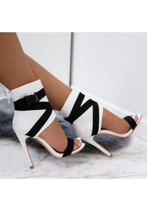 Sandałki Szpilki Białe Polina