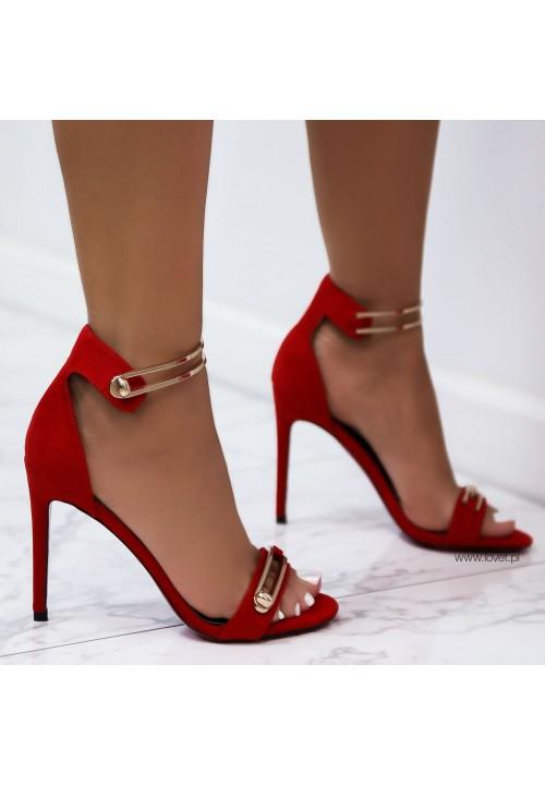 Sandałki Szpilki Zamszowe Czerwone Essi