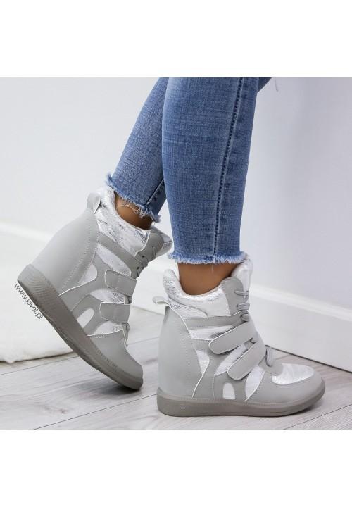 Trampki Sneakersy na Koturnie Szare New Modern Shiny