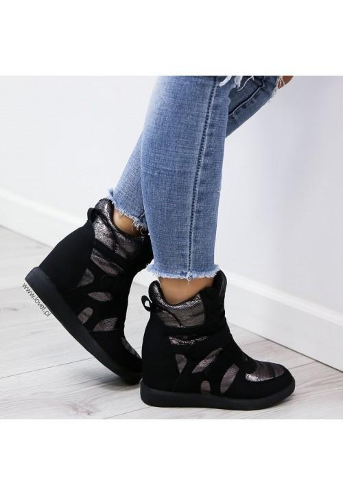 Trampki Sneakersy na Koturnie Czarne New Modern Shiny