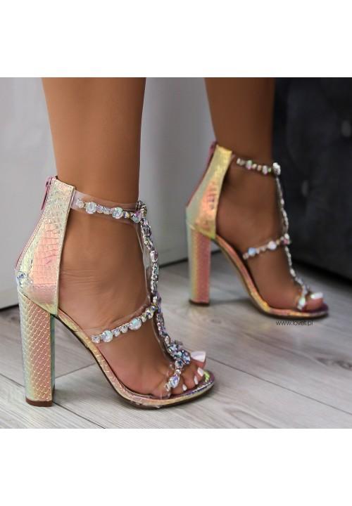 Sandały Opalizujące na Słupku Rose Champagne Taylor