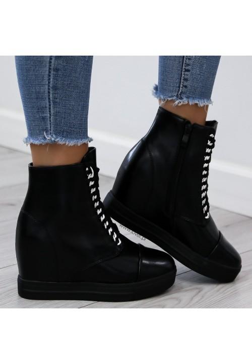 Trampki Koturny Sneakers Czarne Elegance Glam
