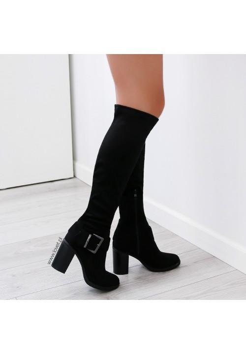 Kozaki na Słupku Zamszowe Czarne Marina Heels