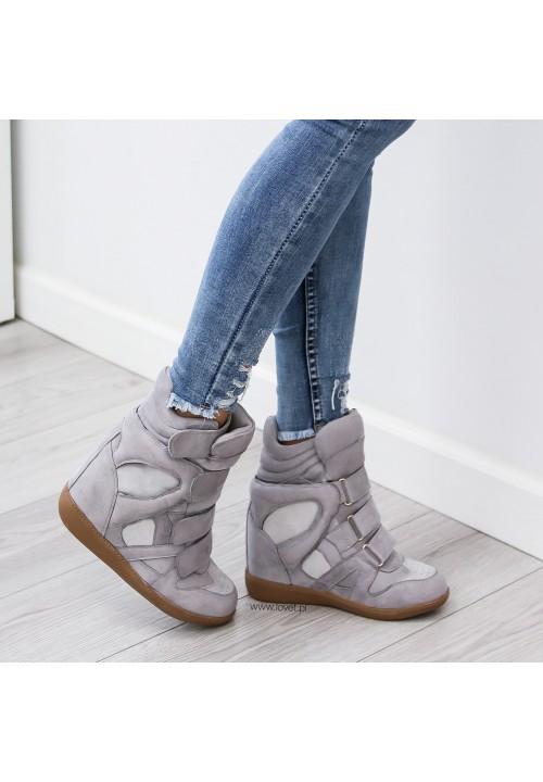 Trampki na Koturnie Sneakersy Szare Modern