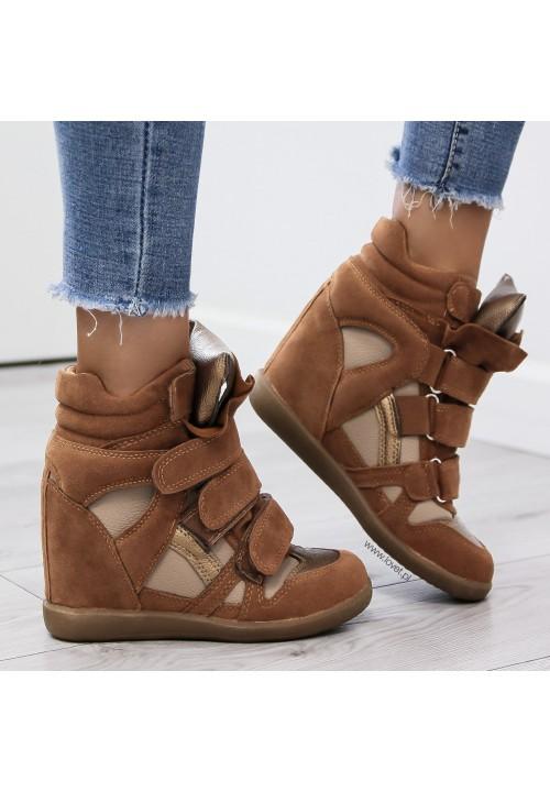 Trampki Sneakersy na Koturnie Camel Modern Shiny