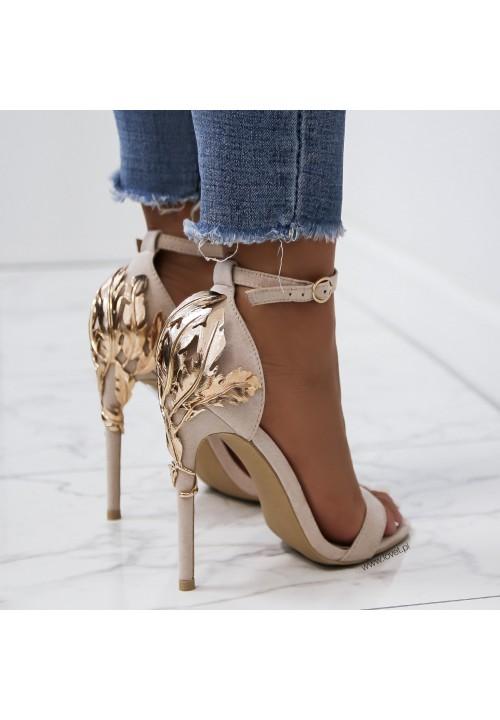 Sandałki Szpilki Zamszowe Beżowe Elvire