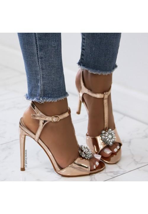 Sandałki Szpilki Lustrzane Różowe Złoto Milu