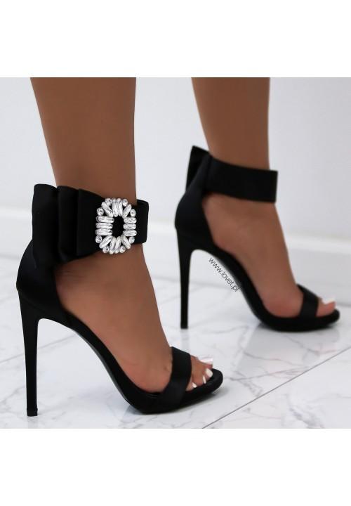 Sandałki Szpilki Satynowe Czarne Cute Satin