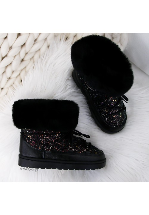 Śniegowce Czarne Brokatowe Snow Kids