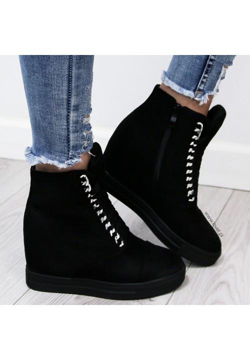 Trampki Koturny Sneakers Zamsz Czarne Elegance Glam