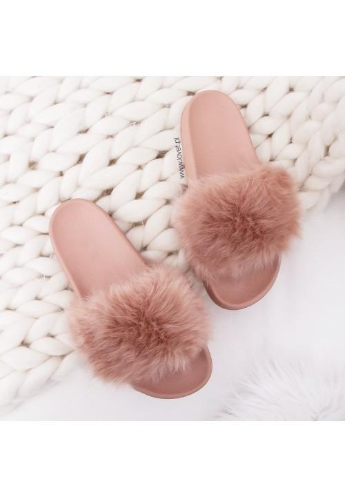 Klapki Gumowe Pink Fluffy Long