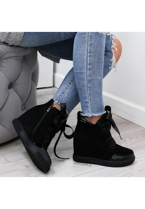 Trampki na Koturnie Sneakersy Czarne Camry